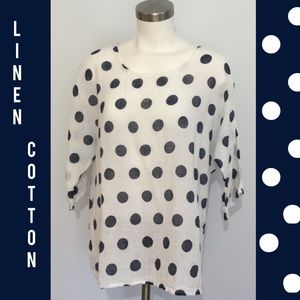 Cotton Linen Top White & Navy Polka Dot L XL
